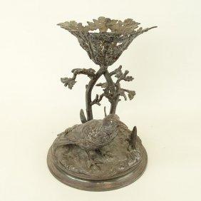 Victorian Silver Plate Bird Centerpiece Stand. Missing