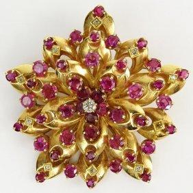 Vintage Round Cut Ruby, Diamond And 14 Karat Yellow