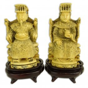 Pair Of Antique Chinese Carved Ivory Emperor And