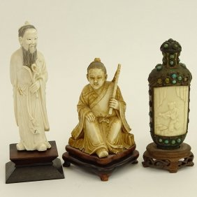 Vintage Chinese Three (3) Piece Ivory Lot. Includes 2