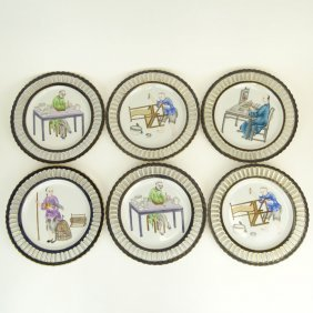 Set Of Six (6) Modern Chinese Hand Painted Porcelain