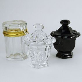 Lot Of Two Baccarat Covered Condiment Jars And A