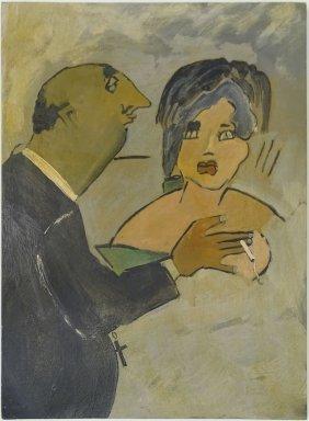 """Mino Maccari, Italian (1898-1989) Oil On Cardboard """"the"""