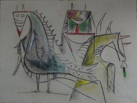 Wifredo Lam, Cuban (1902-1982) Chalk Drawing On