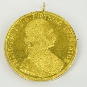 Austrian 1915 4 Ducat Gold Coin (restrike) Mounted As