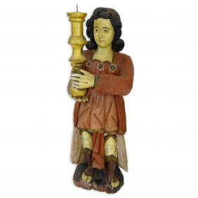Early 20th Century Italian Carved Painted Wood Santos