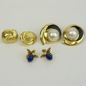 Three (3) Pair Of Vintage 14 Karat Yellow Gold