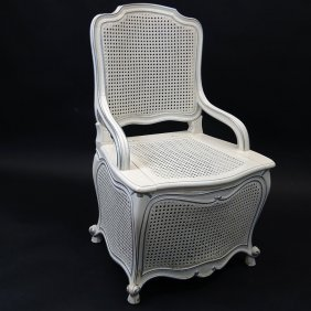 Vintage Louis Xv Style Caned Toilet/potty Chair.