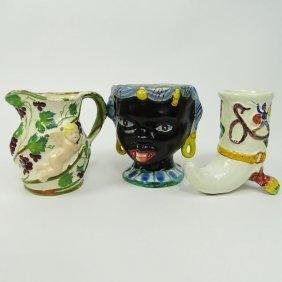 Lot Of Three (3) Vintage Italian Majolica Pottery