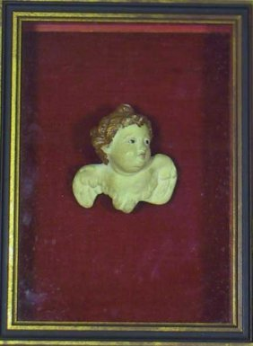 Framed 18th / 19th Carved Cupid Angel Figure