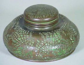 Tiffany Studios  New York Pine Needle Bronze Inkwell