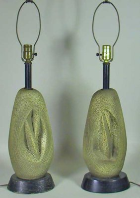 Pair Of Retro Moderne 50's Terra Cotta Lamps