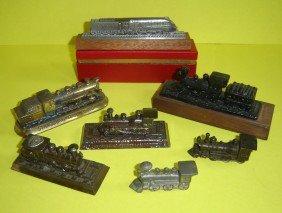 9 Vintage Locomotive Paperweights