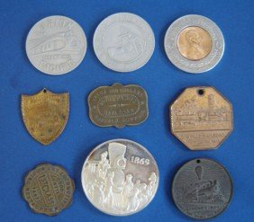 9 Vintage Railroad Related Coins, Medals, And Tags