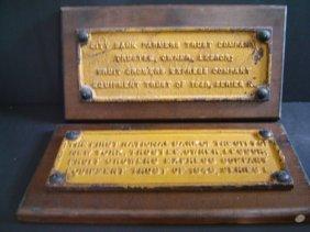 2 Vintage Railroad Cast Iron Mortgage Plaques
