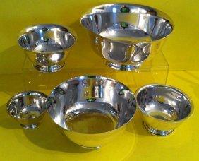 Lot Of  5 Vintage Sterling  Silver  Bowls