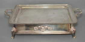 Incredible Silver-plate Serving Tray W Lion Feet