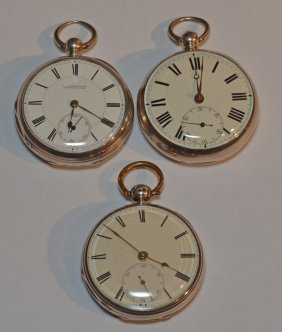 3 English Sterling Silver Pocket Watches