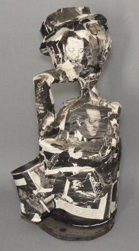 Lester Young Decoupage Saxophone Sculpture