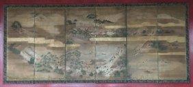 Monumental Meiji Period Japanese Painted Screen