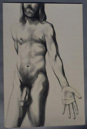 Lowell Nesbitt Original Nude Male Drawing