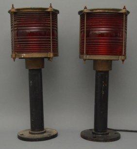 2 Western Railroad Bridge Lights W Red Lens