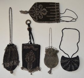 5 Stunning Antique Beaded Evening Bag Purses