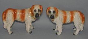 Large Pr Of Staffordshire St. Bernard Dogs