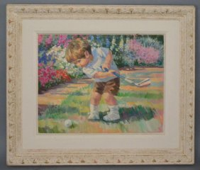 Corrine Hartley Oil Painting Of Little Boy Playing Golf