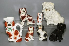 6 Staffordshire Dogs & A Dog Pitcher