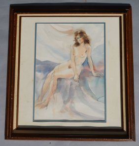 Signed Nude Woman Watercolor On Arches Paper