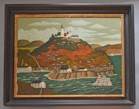 "Original Charles Wysocki Oil Painting ""sailing In The"