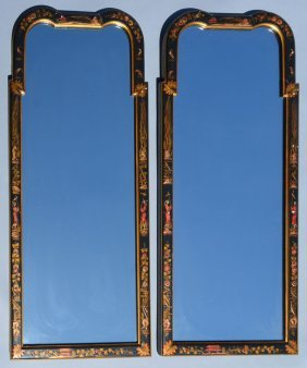 Pair Of Lacquered Chinese Chinoiserie Mirrors
