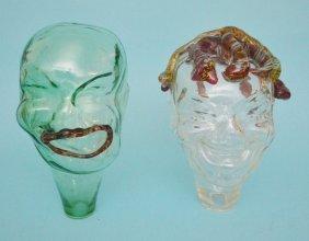 "2 Art Glass ""fred"" Heads By Larry Livolsi"
