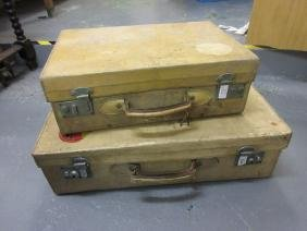 Two Pig Skin Suitcases