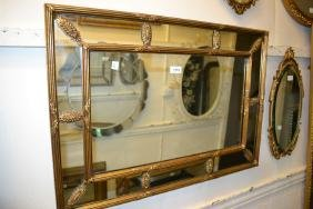 Reproduction Rectangular Gilt Segmented Wall Mirror