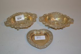 Pair Of London Silver Trinket Dishes, Each With Shaped