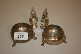 Pair Of Circular Silver Salts Together With A Pair Of