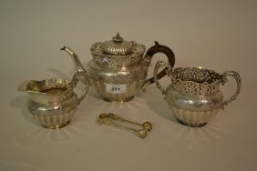 Early 20th Century Chinese Silver Three Piece Tea