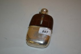 Leather Covered Glass Hip Flask With London Silver