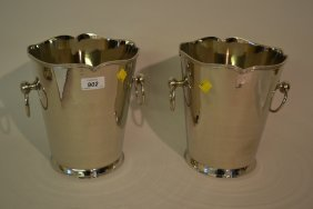 Pair Of Circular Nickel Plated Wine Coolers With Ring
