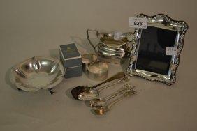 Small Silver Cream Jug, Three Silver Napkin Rings, Five