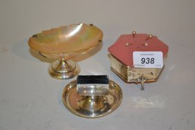Silver Mounted Shell Trinket Dish, Silver Matchbox