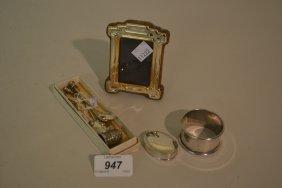 Silver Napkin Ring, Thimble, Pill Box, Small Photograph