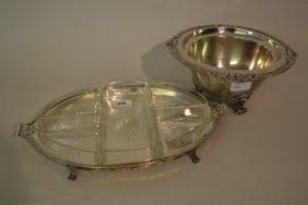 Silver Plated Two Handled Hors D'oeuvres Dish With Cut