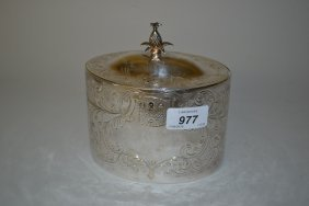 George Iii Oval Silver Tea Caddy, The Hinged Cover With