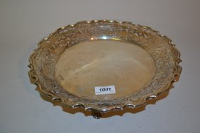 Sheffield Silver Fruit Dish With Shaped Pierced Rim On