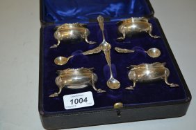 Cased Set Of Four London Silver Salts With Spoons In