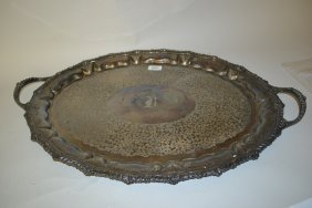Large 19th Century Silver Plated Oval Two Handled Tray