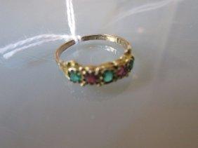 19th Century Gold Half Hoop Ring Set Three Emeralds And